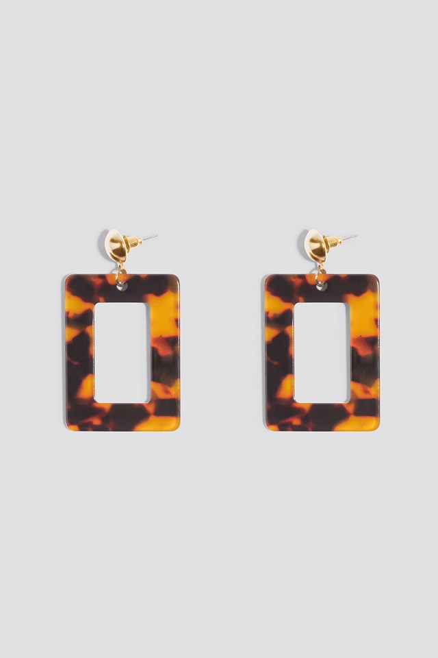 Square Hanging Resin Earrings Turtle
