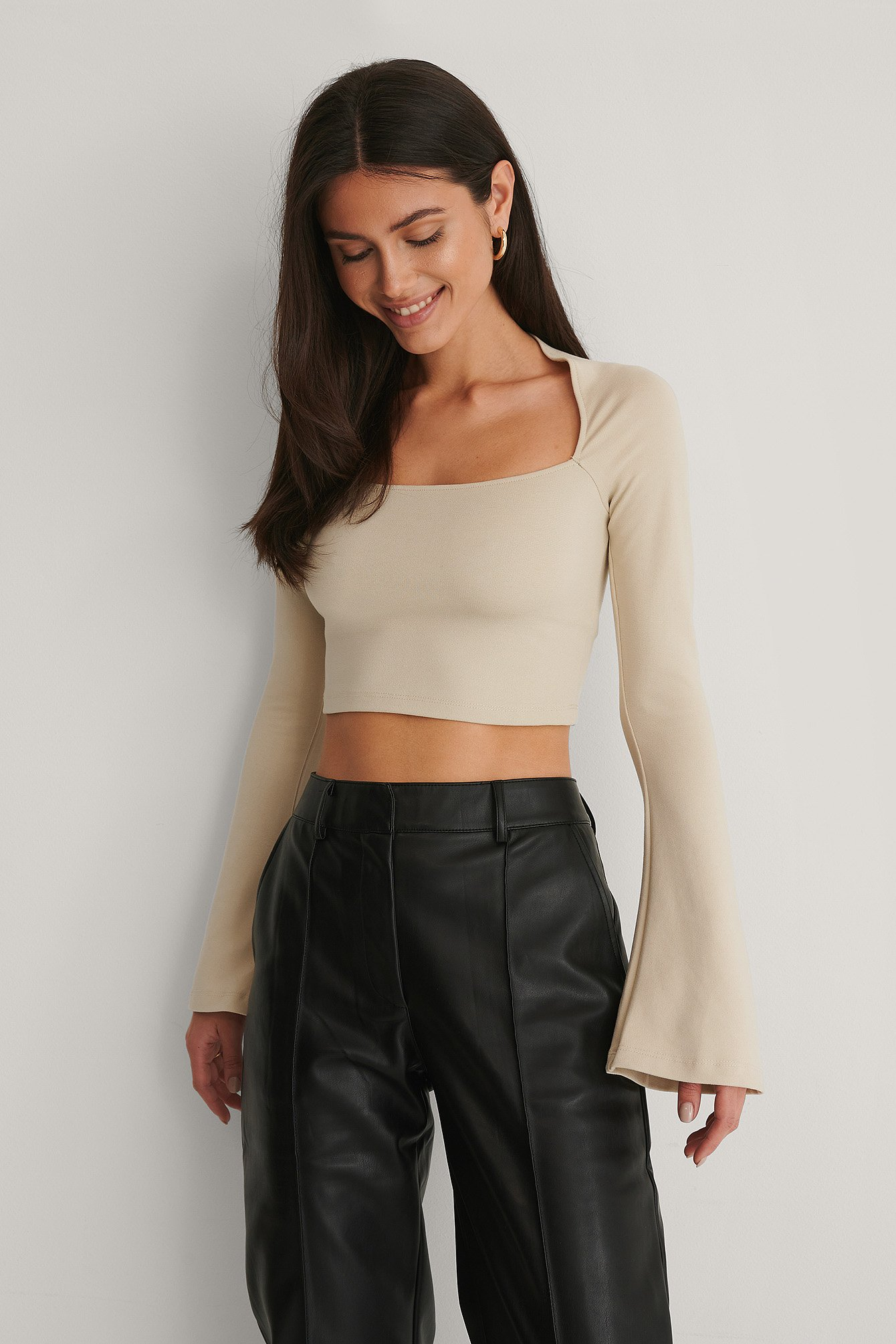 Beige Square Neck Trumpet Sleeve Top