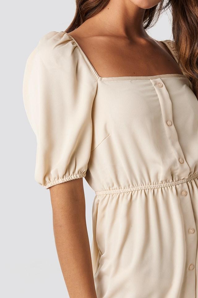 Square Neck Buttoned Mini Dress Beige