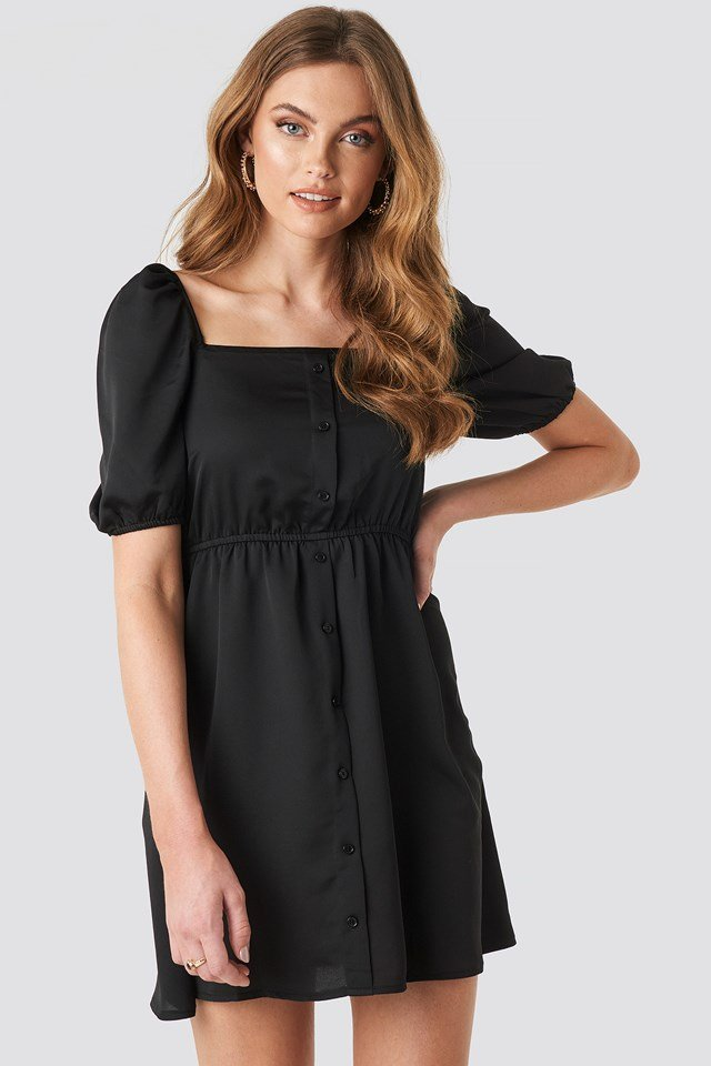 Square Neck Buttoned Mini Dress Black