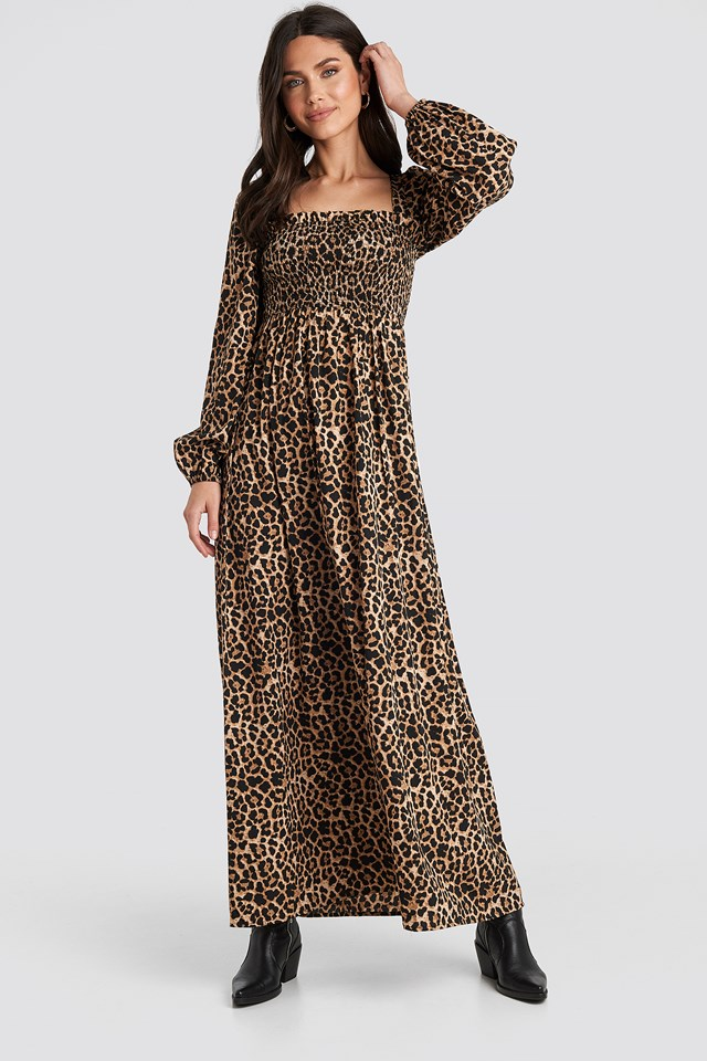 Square Neck Leo Maxi Dress Leopard