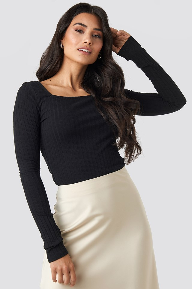 Square Neck Long Sleeve Top Black