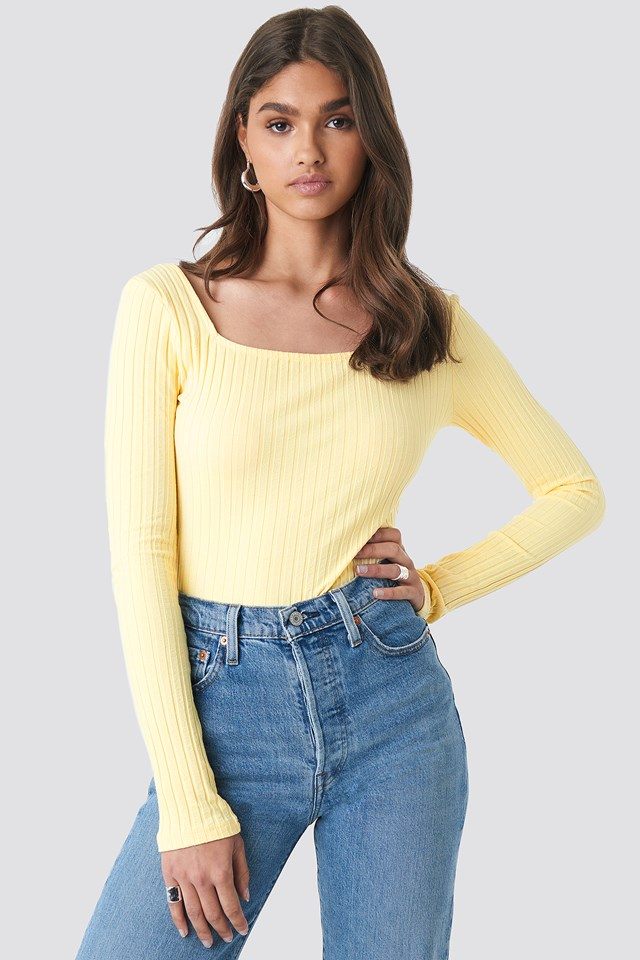 Square Neck Long Sleeve Top Yellow