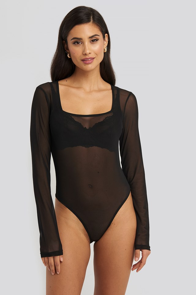 Square Neck Mesh Body Black
