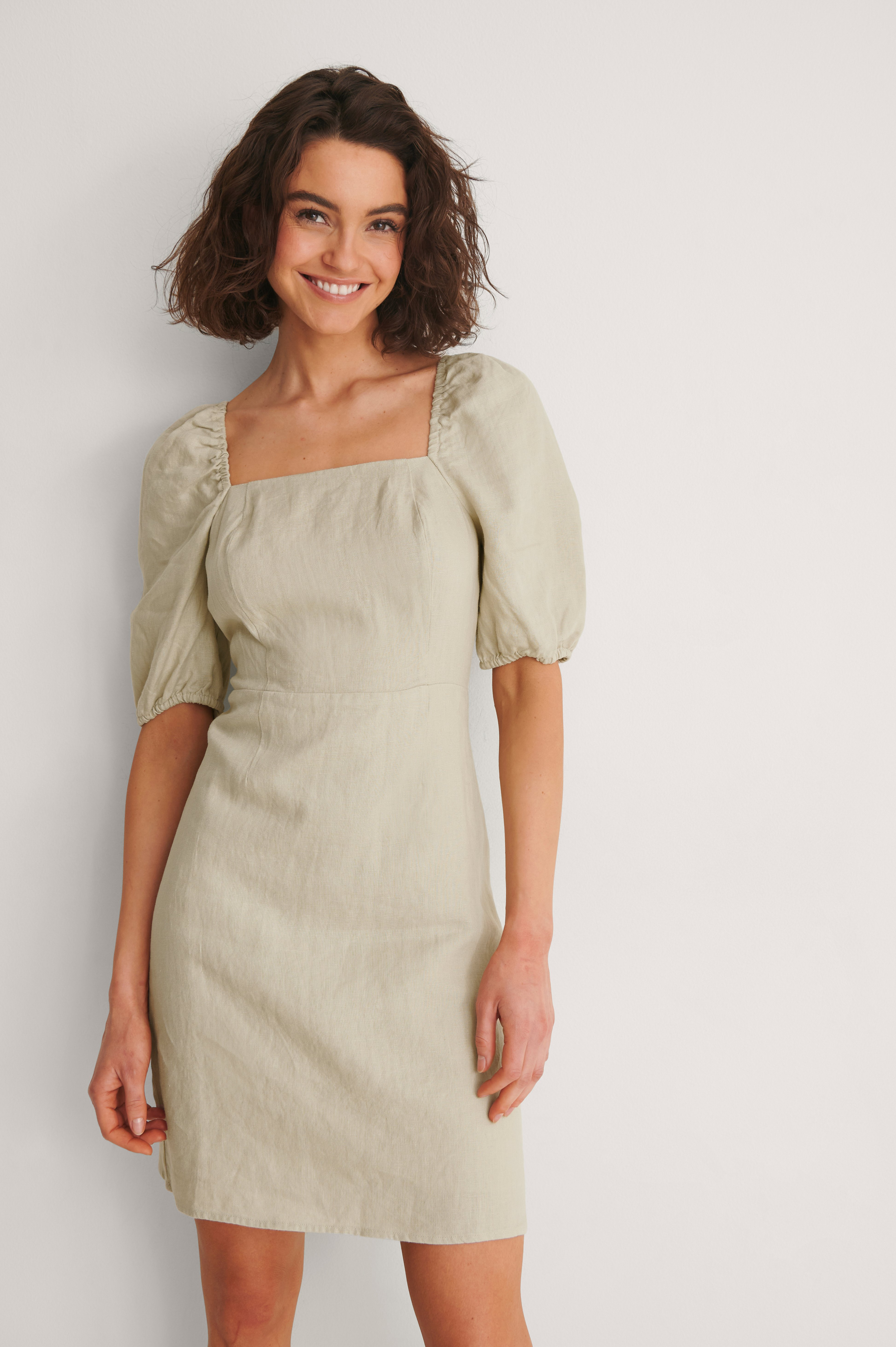Beige Square Neck Mini Linen Dress