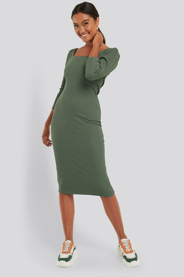 Square Neck Puff Sleeve Rib Dress Green