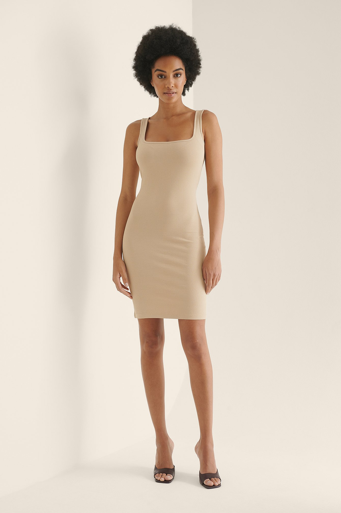 Beige Square Neck Rib Mini Dress