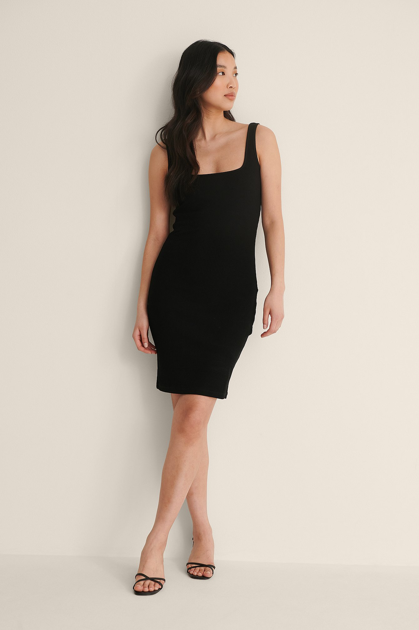 Black Square Neck Rib Mini Dress