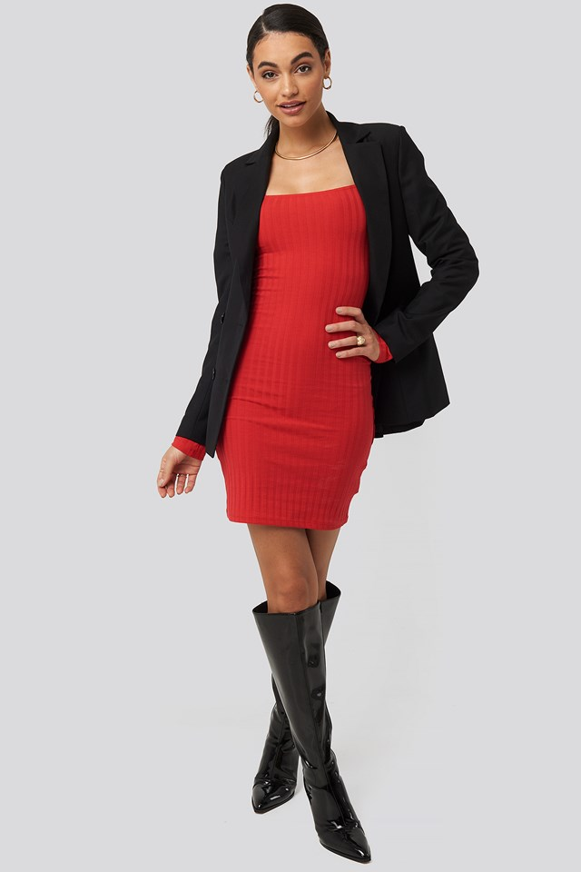 Square Neck Ribbed Dress Red