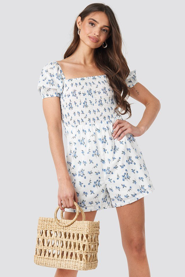 Square Neck Shirred Playsuit NA-KD Boho