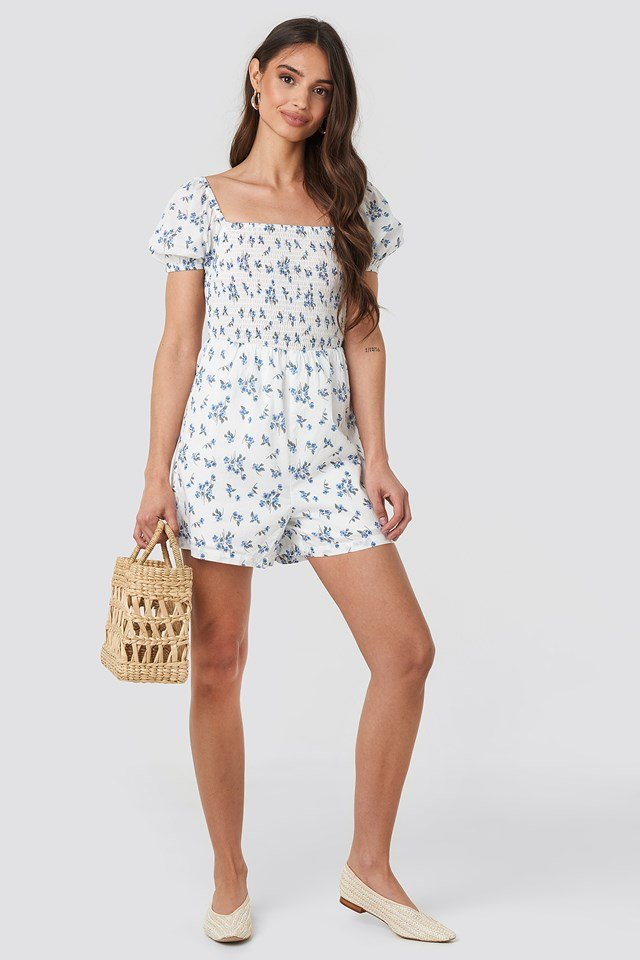 Square Neck Shirred Playsuit Blue Flower