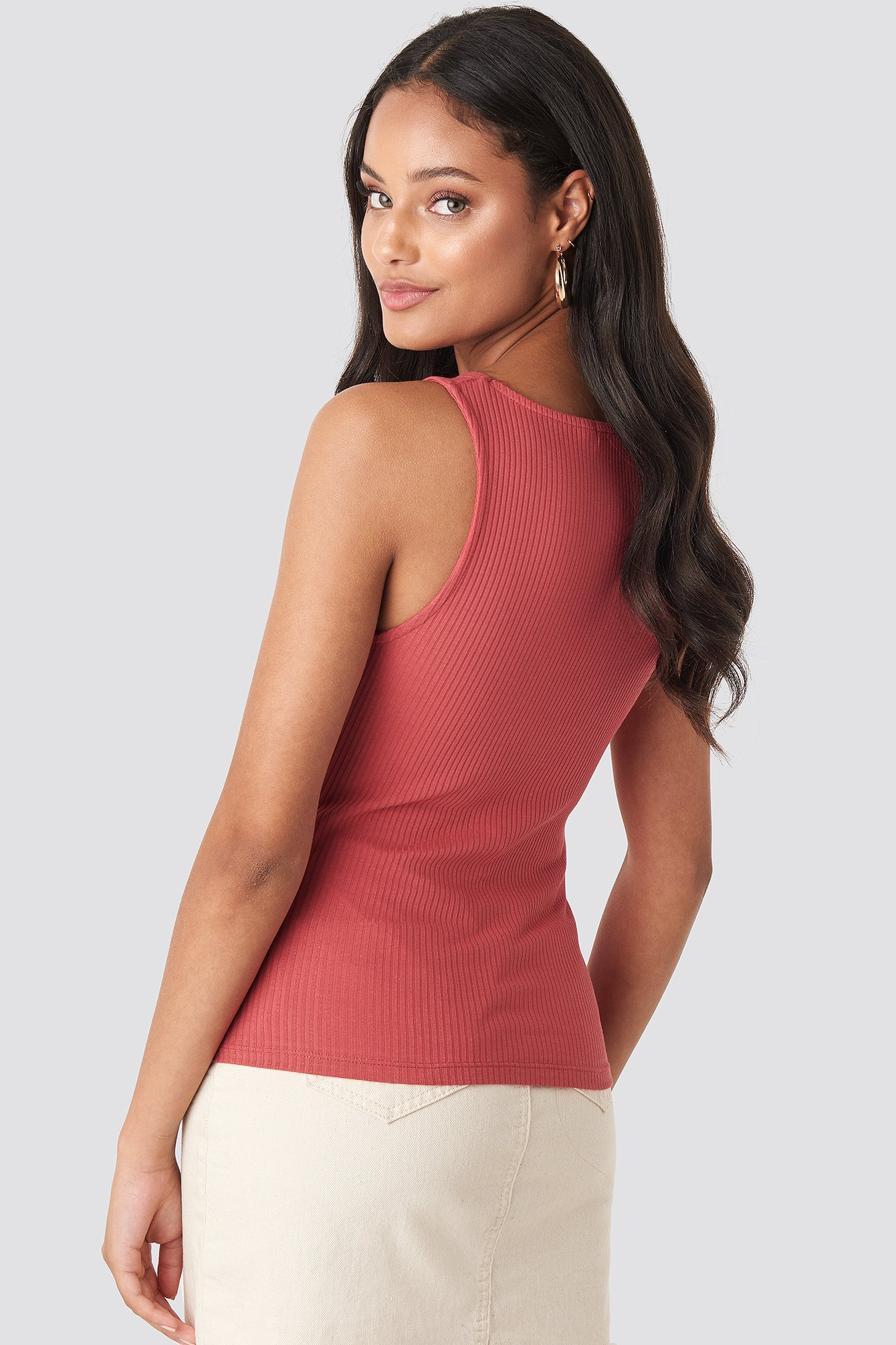 Red Square Neck Sleeveless Top