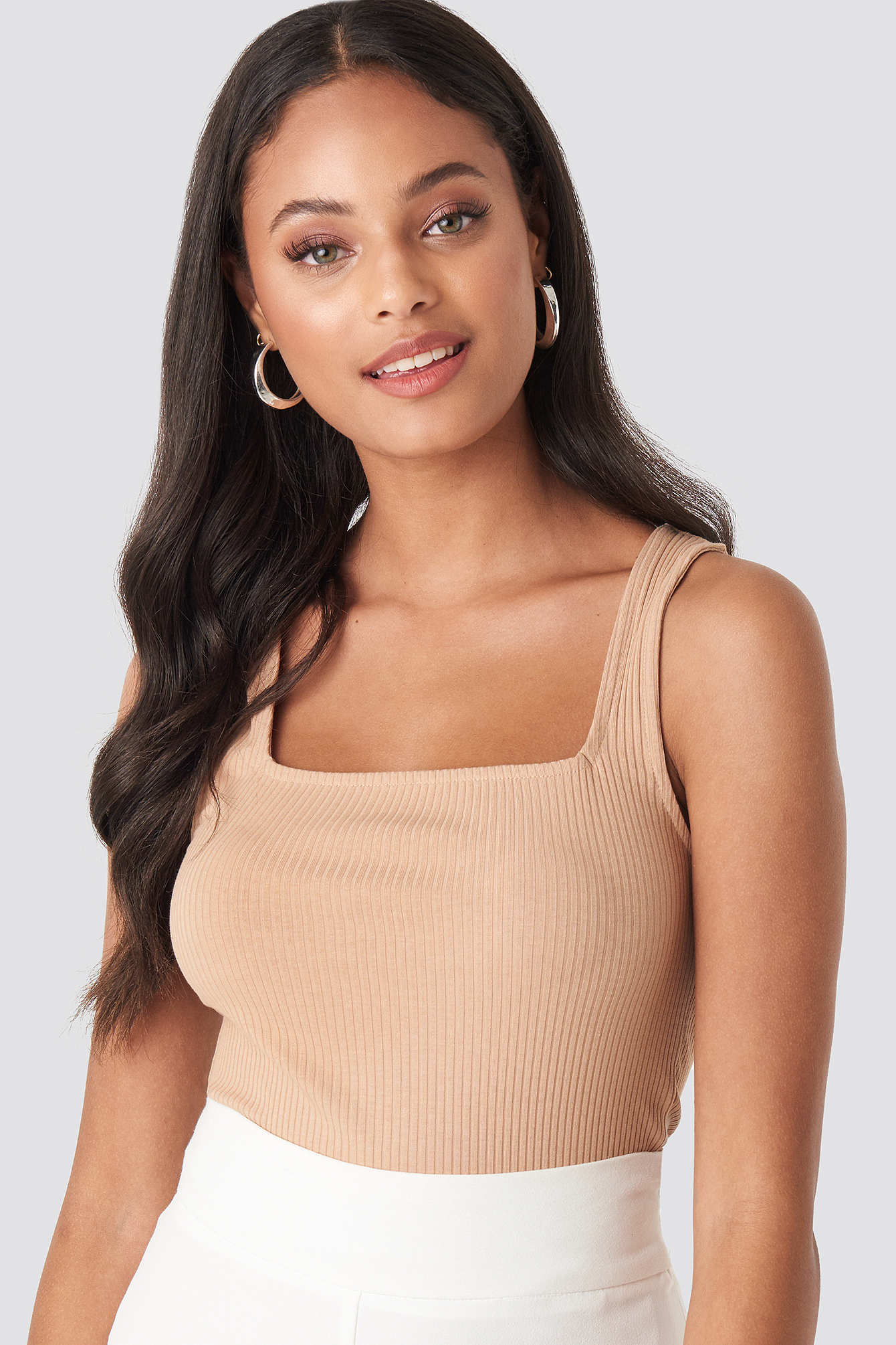 Square Neck Sleeveless Top Beige by Na Kd Trend