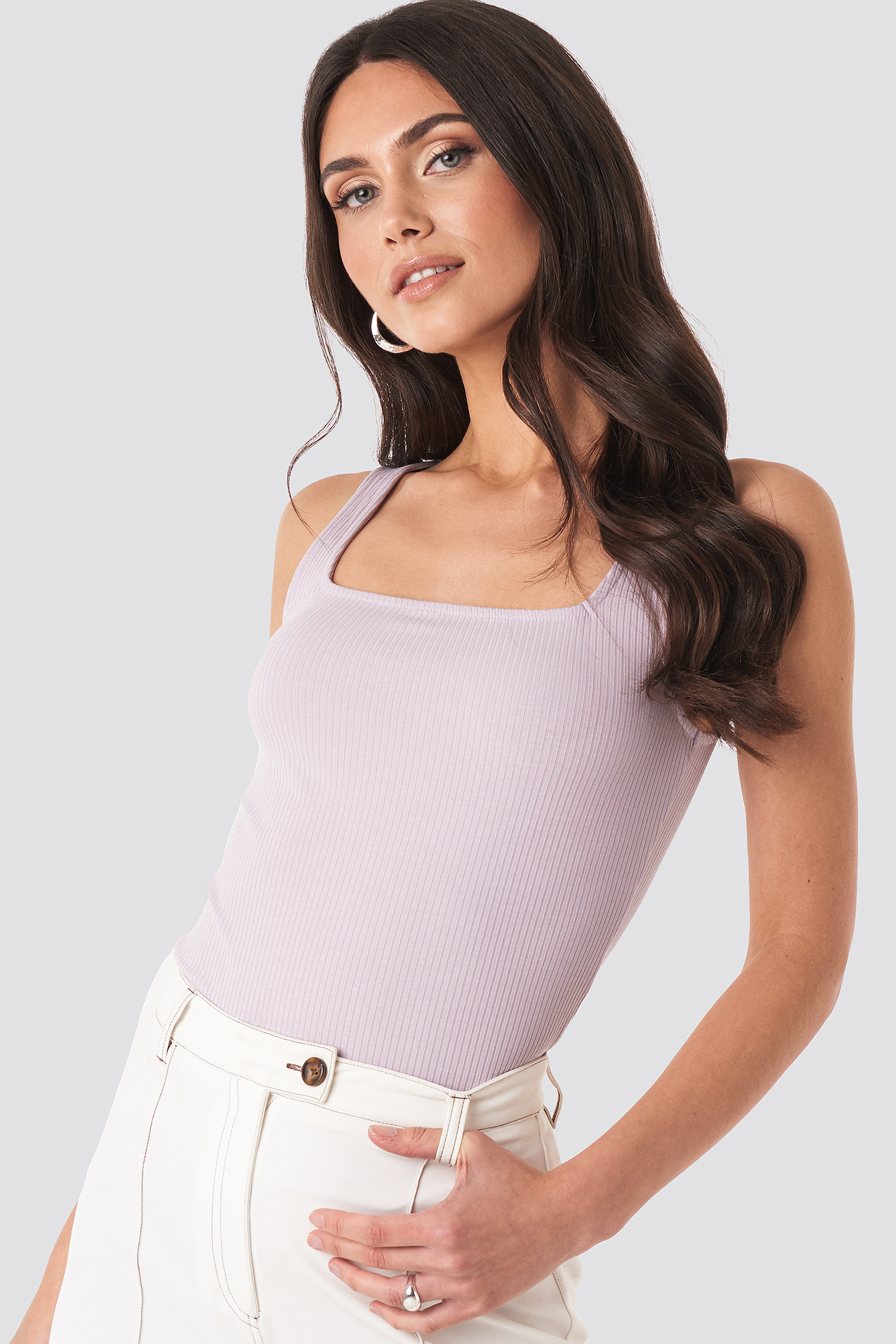 na-kd trend -  Square Neck Sleeveless Top - Purple