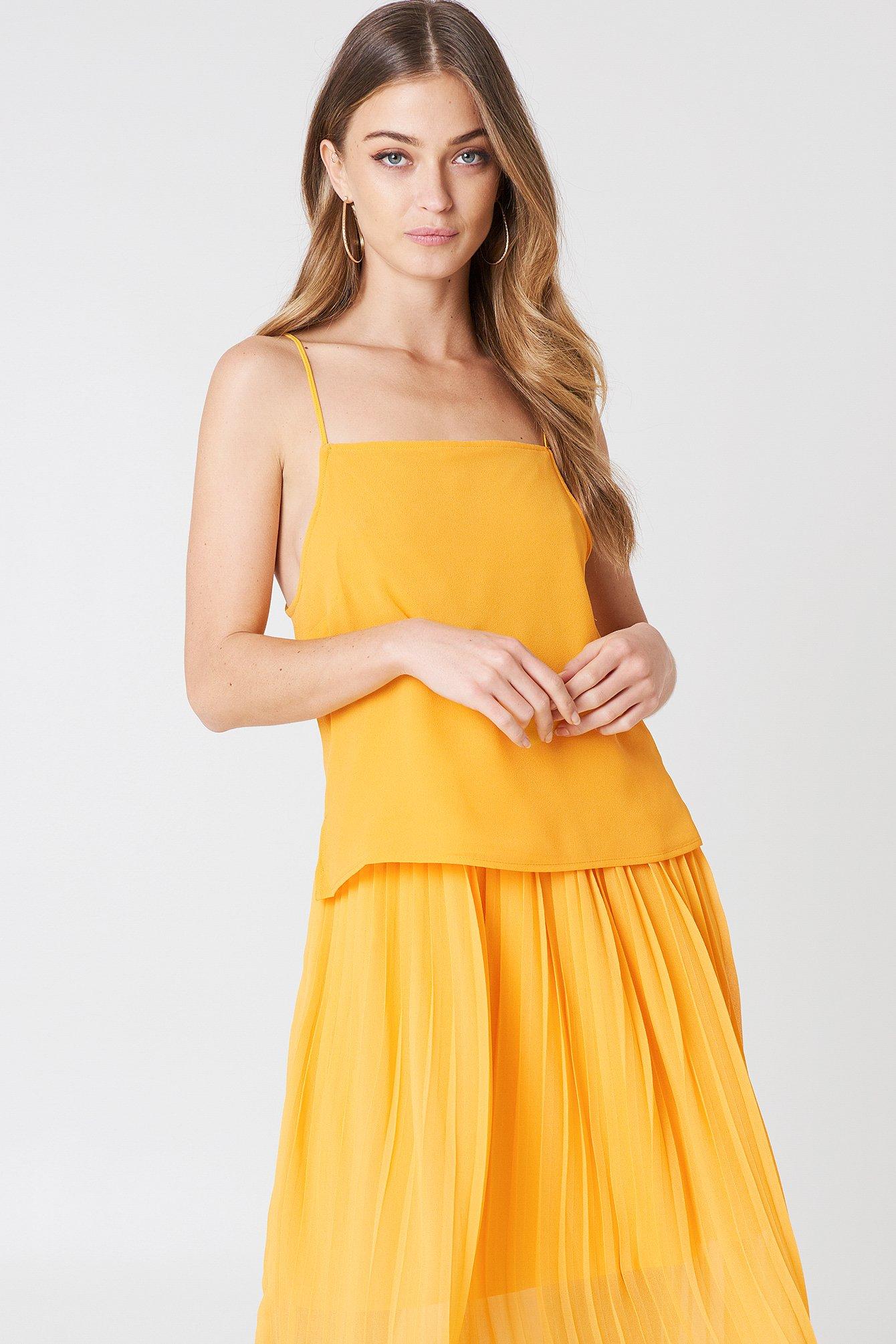 NA-KD Square Neck Slip Singlet - Orange