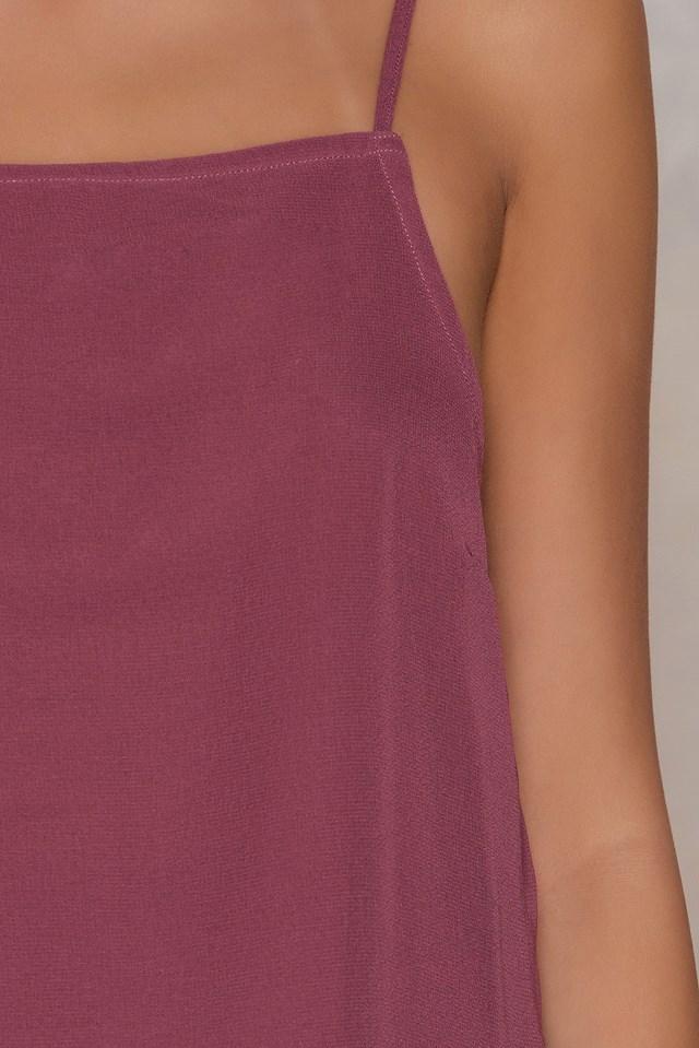 Square Neck Slip Singlet Purple Rose