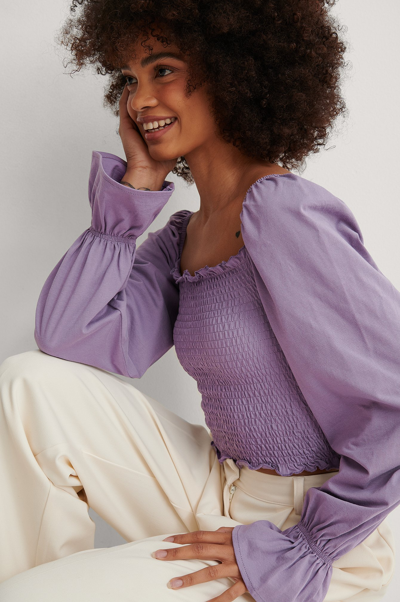 Purple Square Neck Smock Detail Top