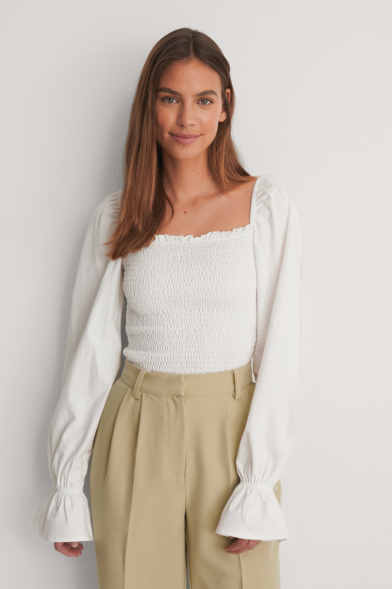 Offwhite Square Neck Smock Detail Top