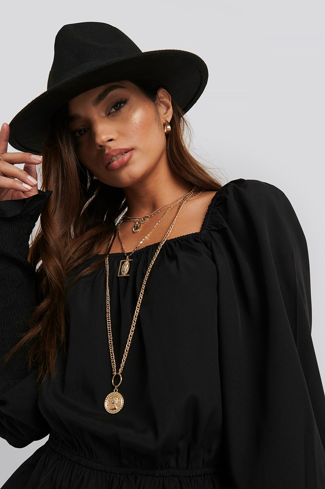 Square Neck Smock Sleeve Blouse Black