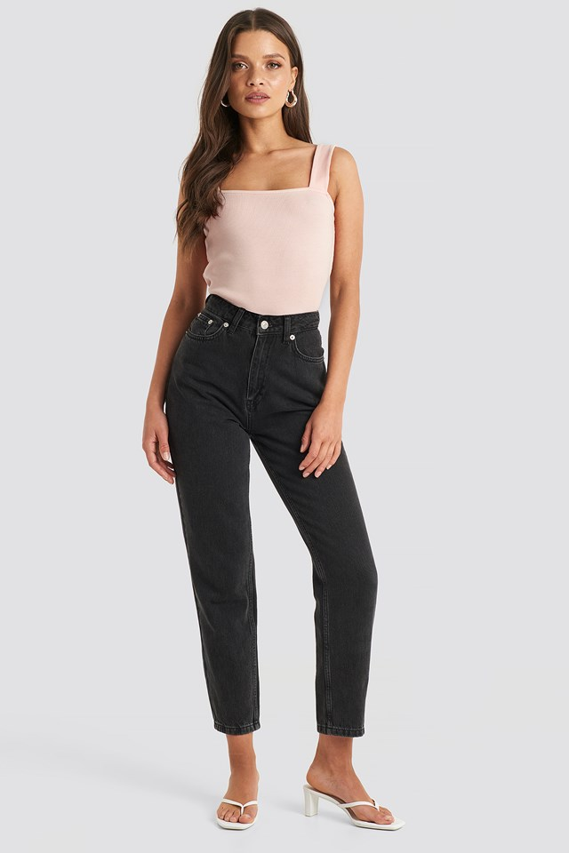 Square Neck Wide Strap Top Pink