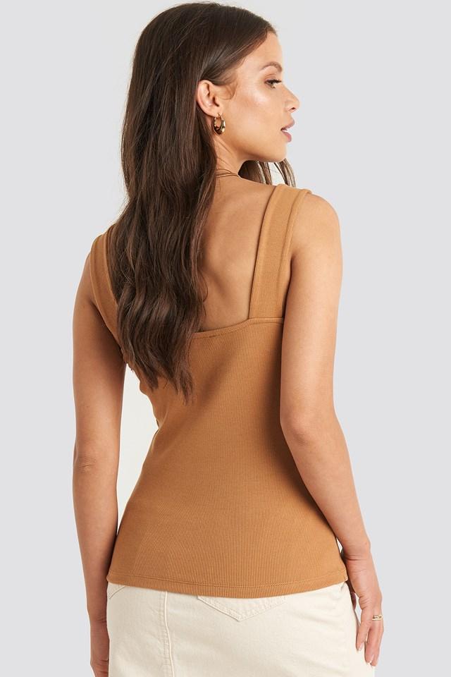Square Neck Wide Strap Top Tan