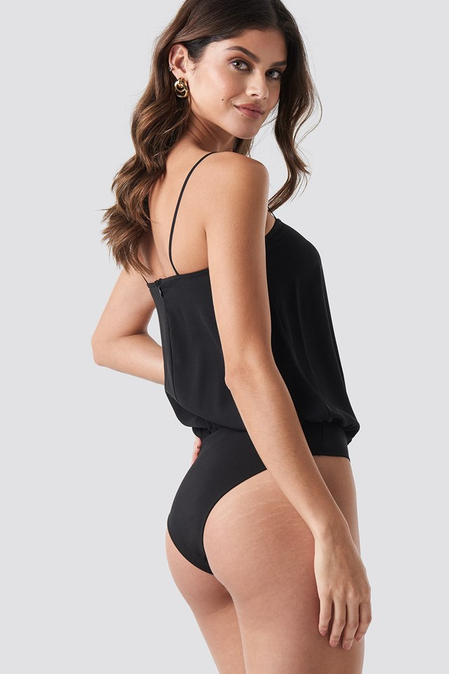 Square Neckline Bodysuit Black