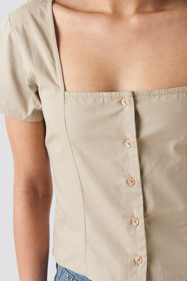 Square Neckline Buttoned Top Beige