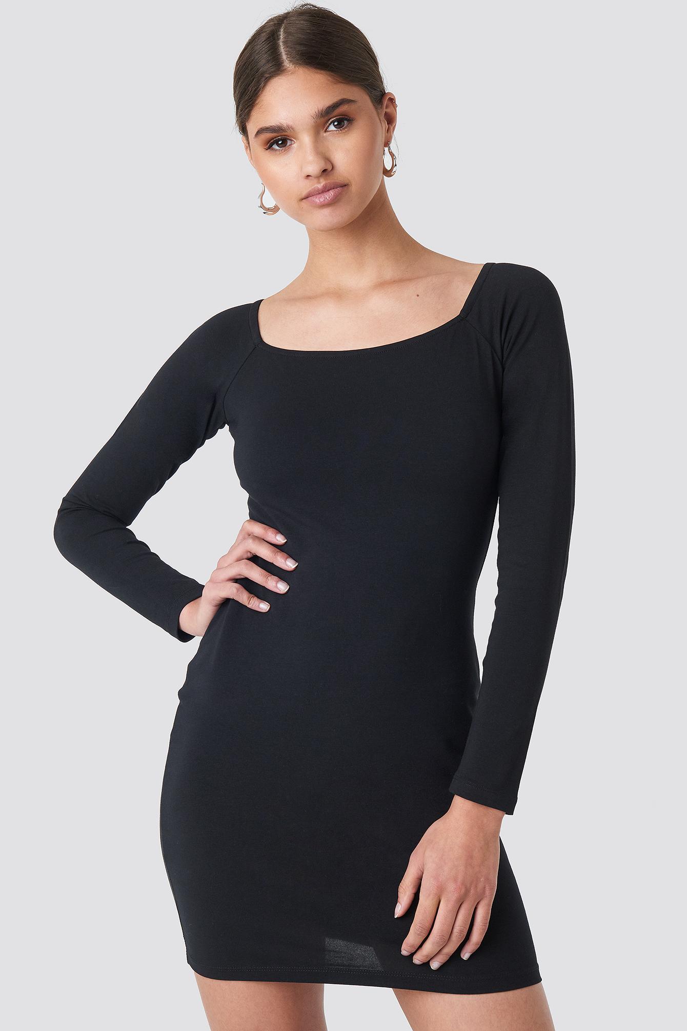 Square Neckline Fitted Dress NA-KD.COM