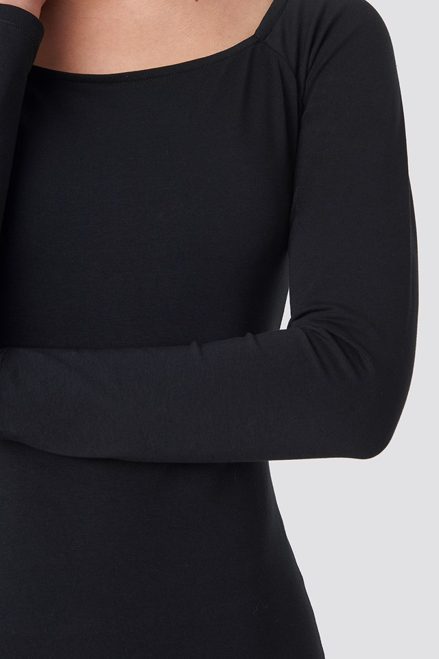 Square Neckline Fitted Dress Black