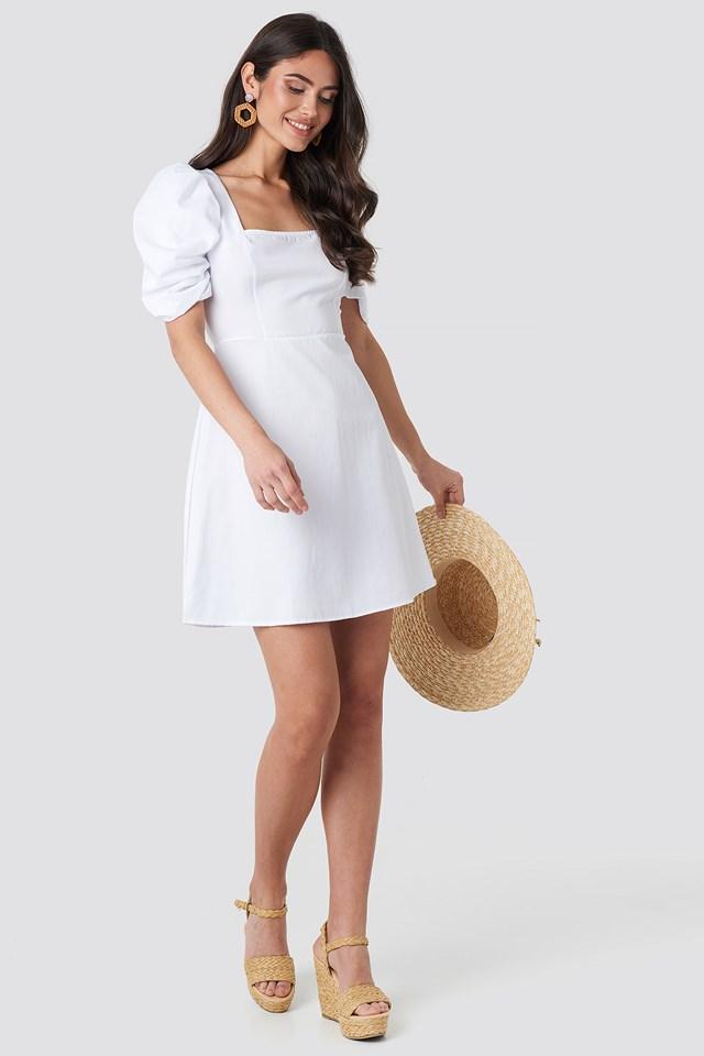 Square Neckline Puff Sleeve Mini Dress White