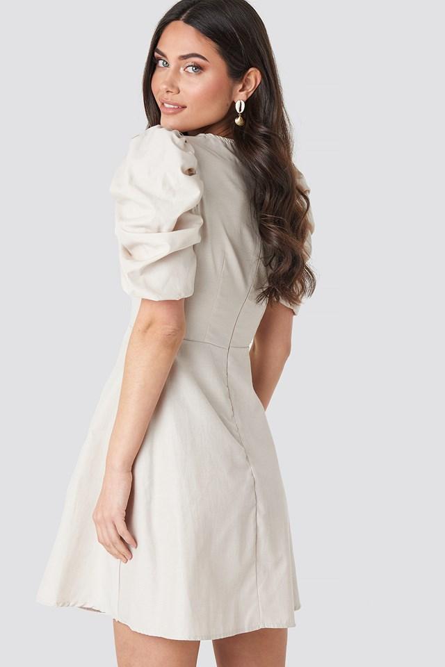Square Neckline Puff Sleeve Mini Dress Beige