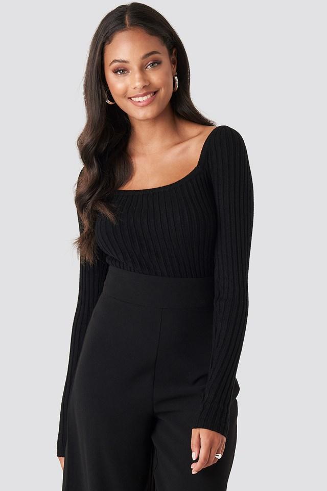 Square Neckline Ribbed Sweater Black
