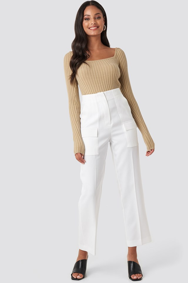 Square Neckline Ribbed Sweater Beige
