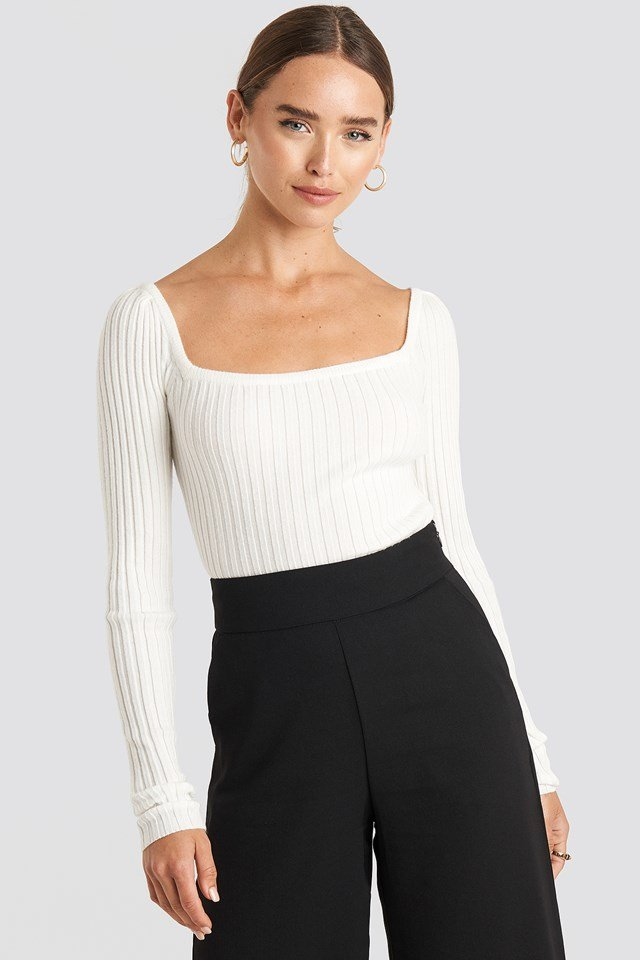 Square Neckline Ribbed Sweater Offwhite