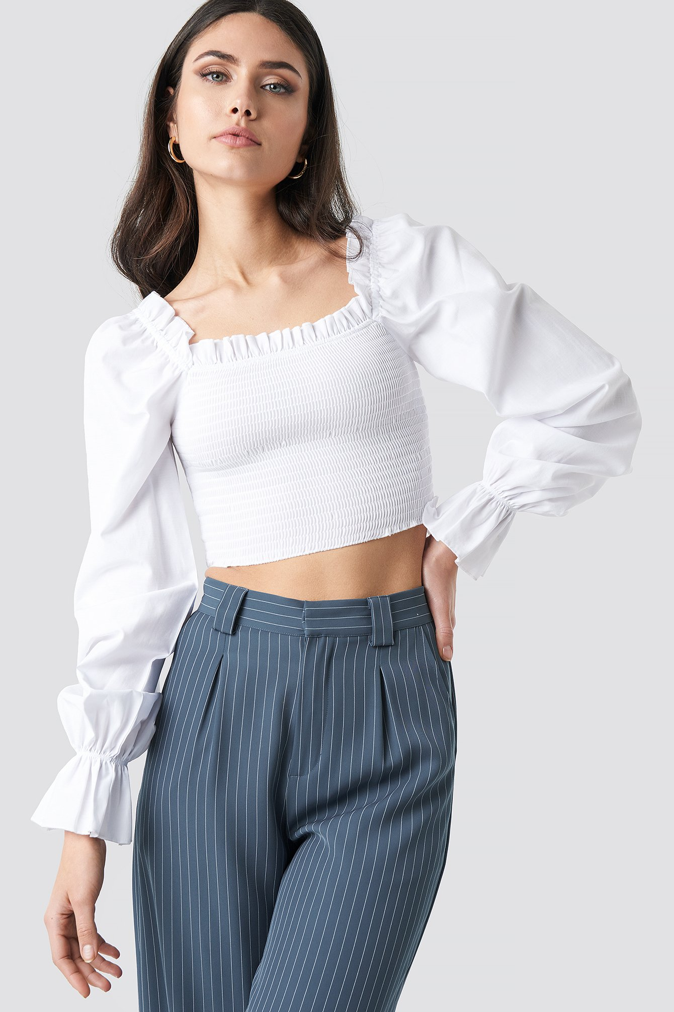 cb79c94f327 Square Neckline Shirred Top White | na-kd.com