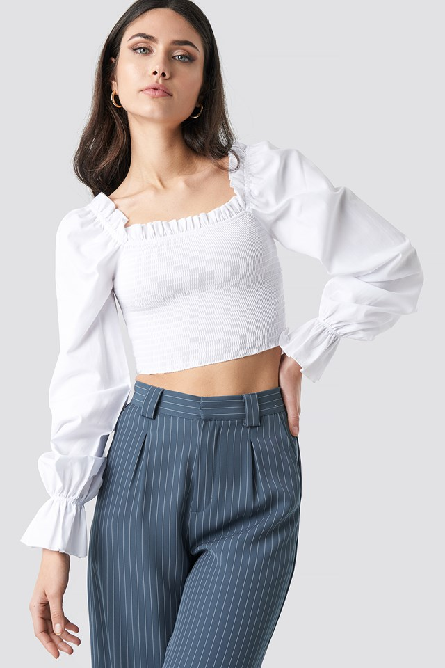 Square Neckline Shirred Top White