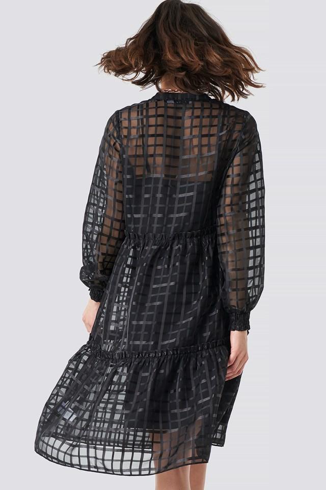 Square Patterned Flounce Dress Black