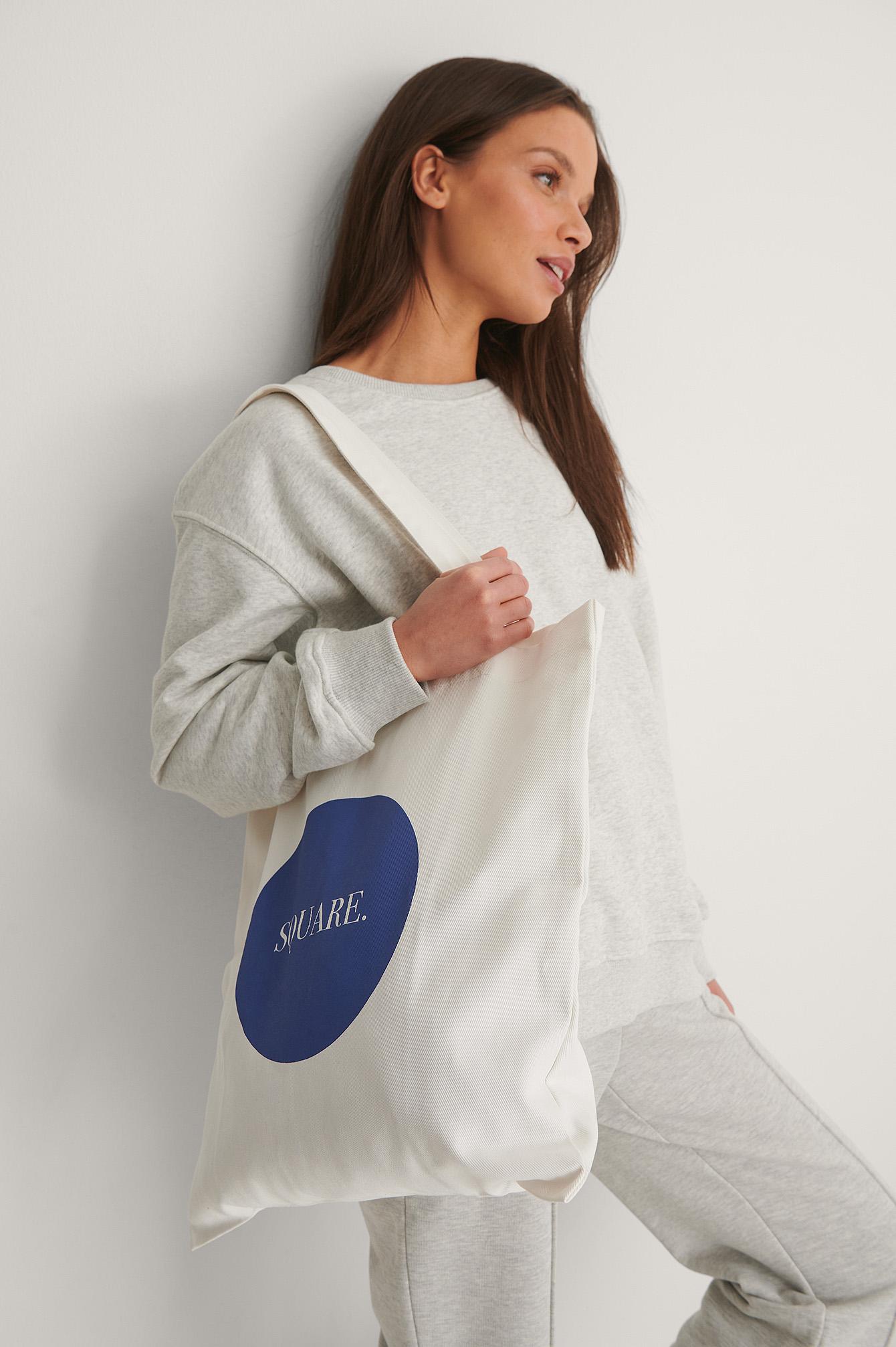 na-kd accessories -  Organisch Eckige Stofftasche - Offwhite