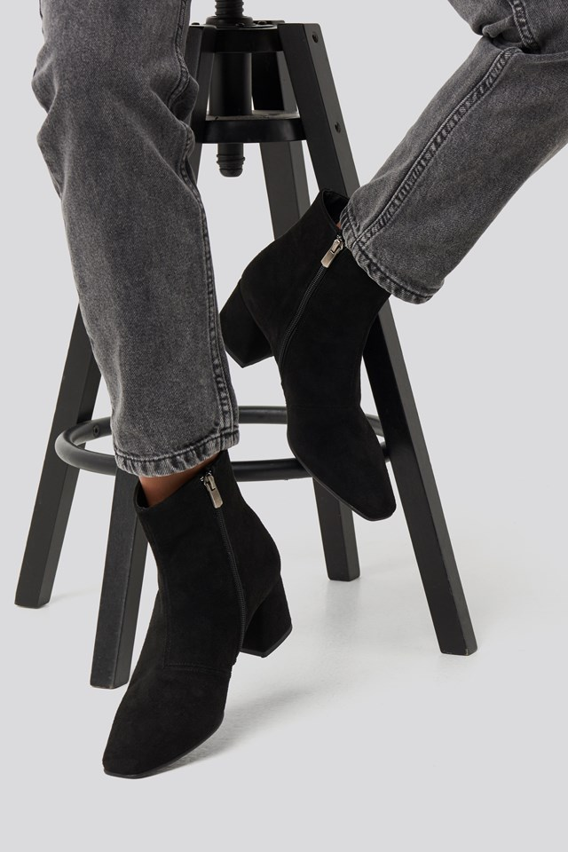 Squared Toe Basic Boots Black