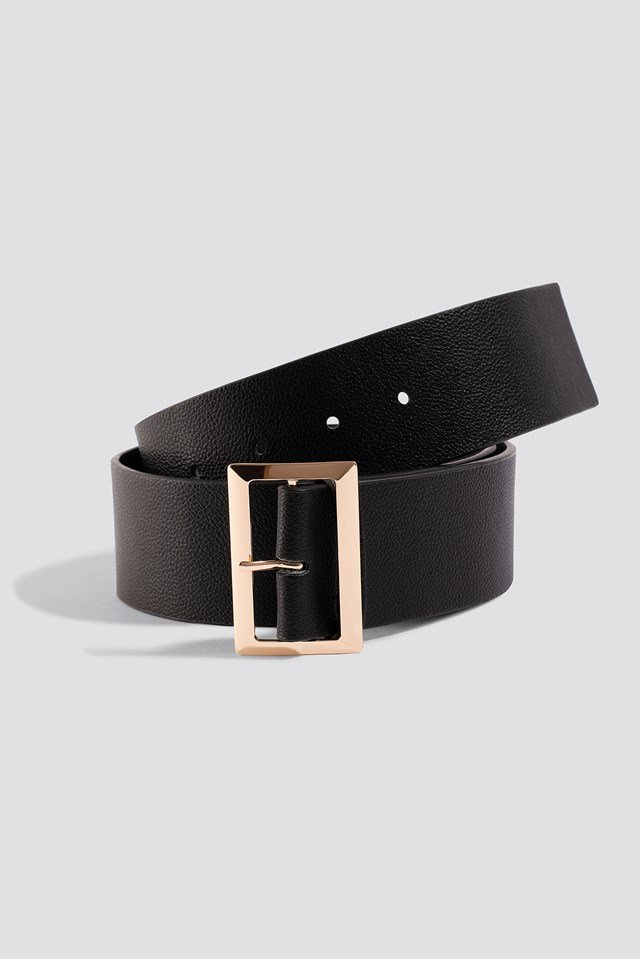 Squared Buckle Belt Black
