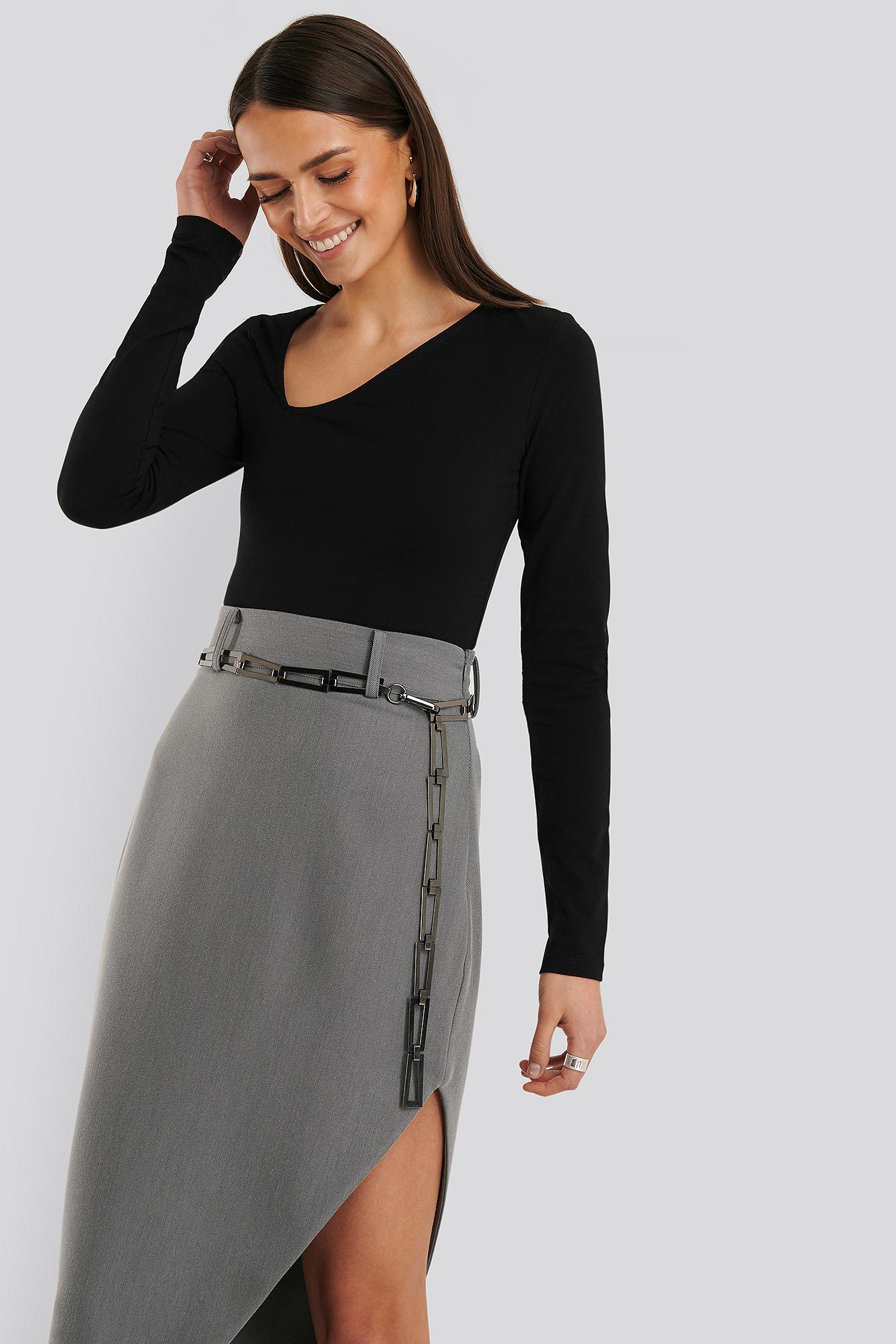 na-kd accessories -  Squared Chain Belt - Grey