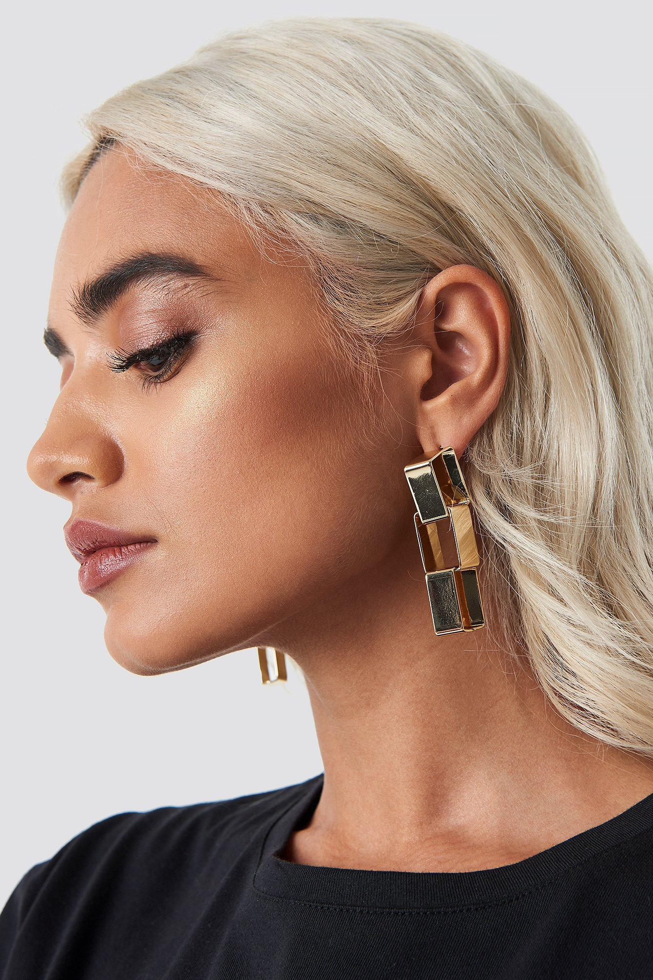 na-kd accessories -  Squared Chain Earrings - Gold
