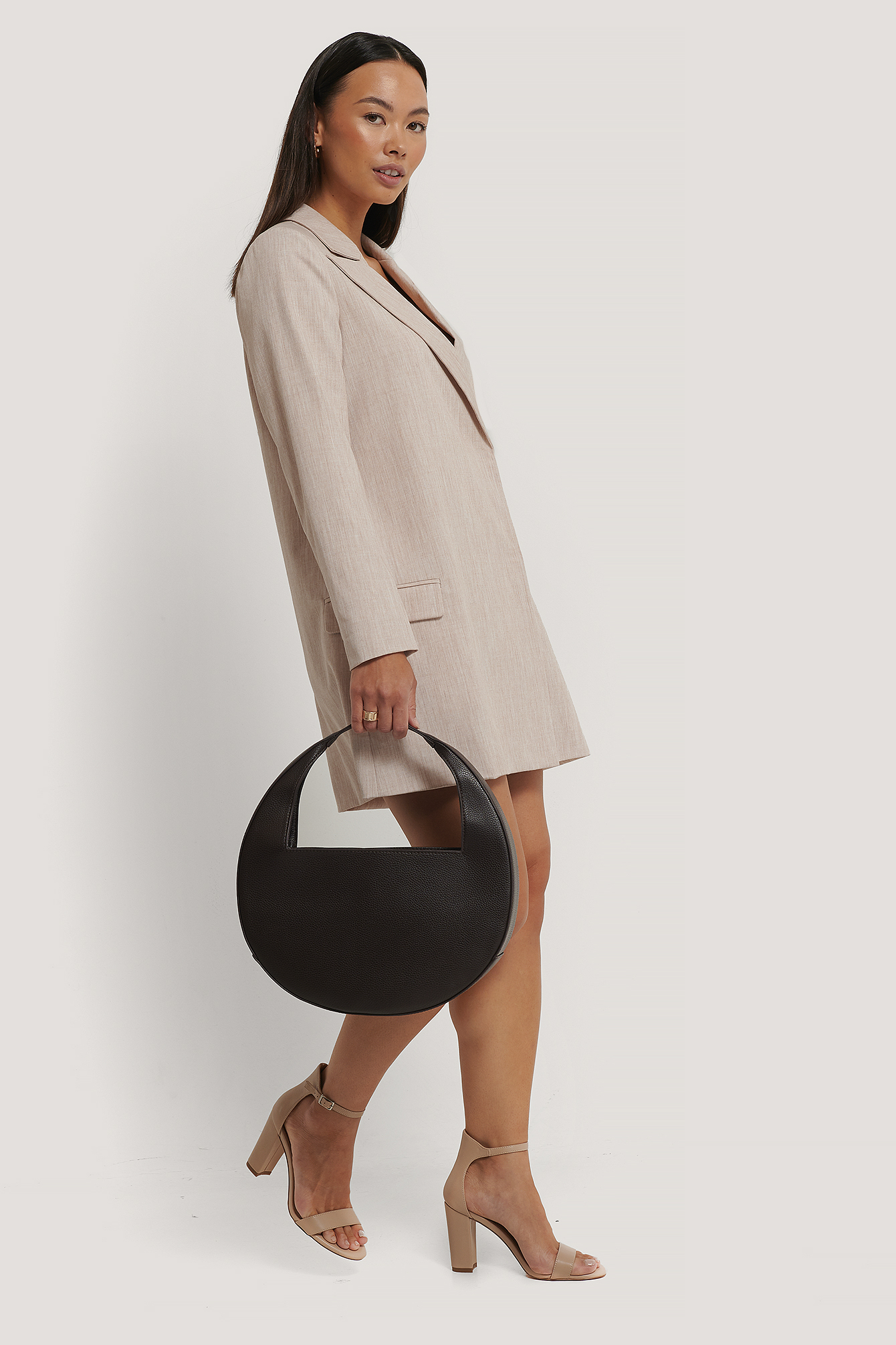 NA-KD Accessories Squared Handle Moon Bag - Brown