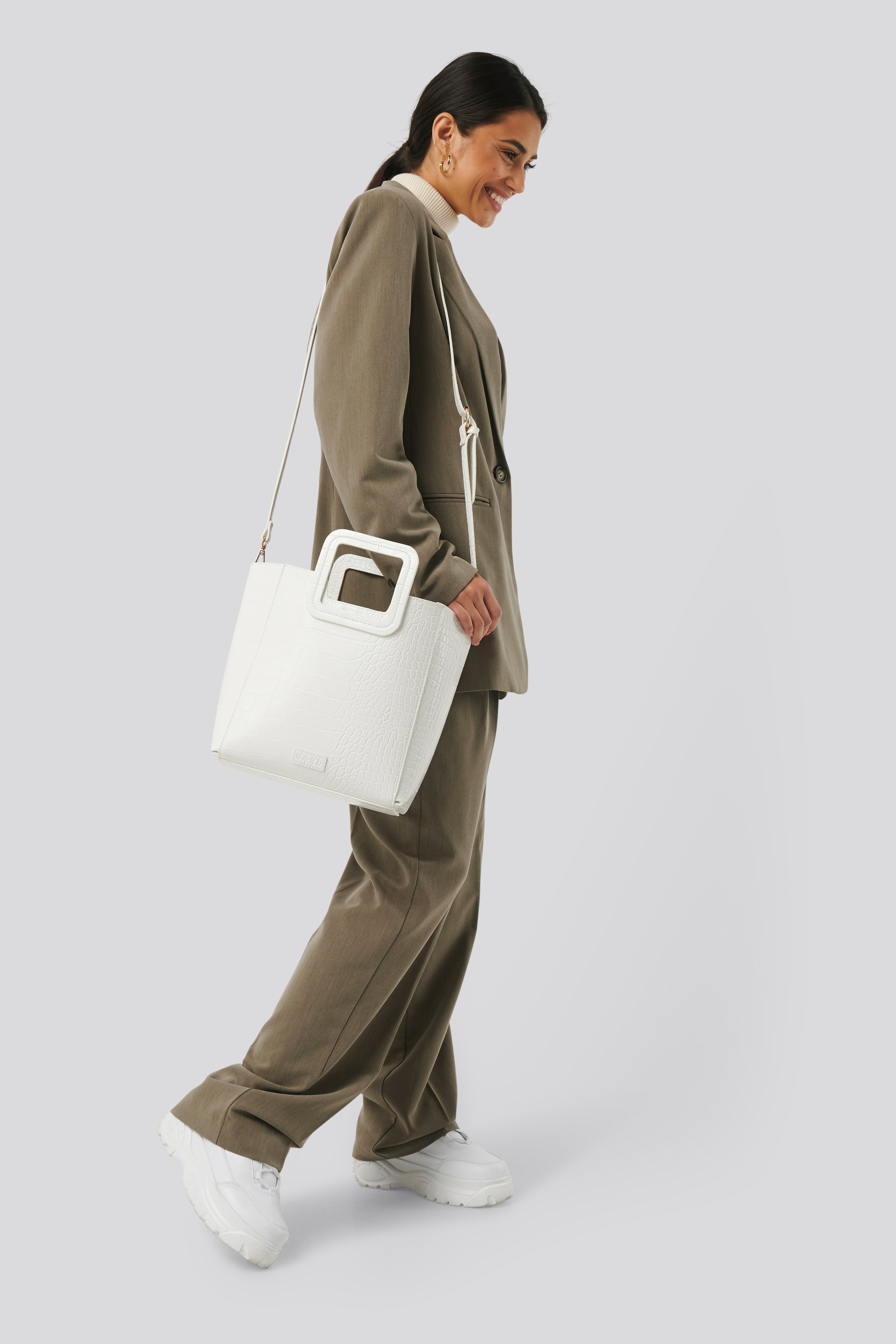 NA-KD Accessories Squared Handle Shopper - White   Taschen > Handtaschen > Shopper   NA-KD Accessories