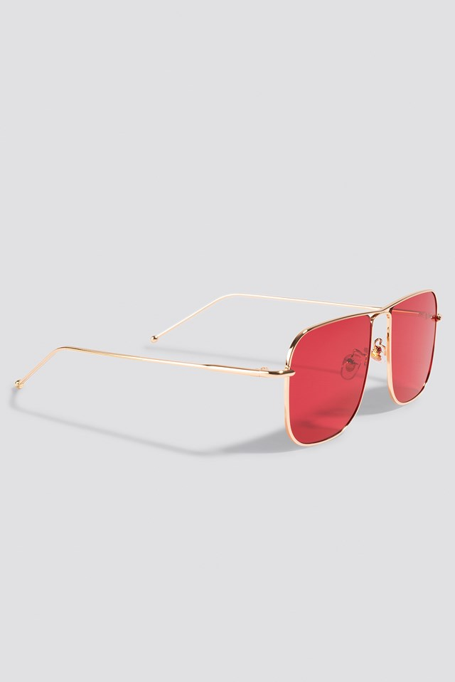 Squared Metal Sunglasses Red