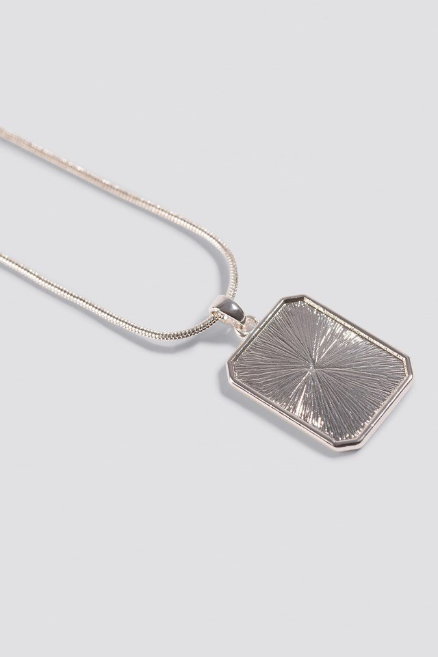 Squared Plate Necklace Silver
