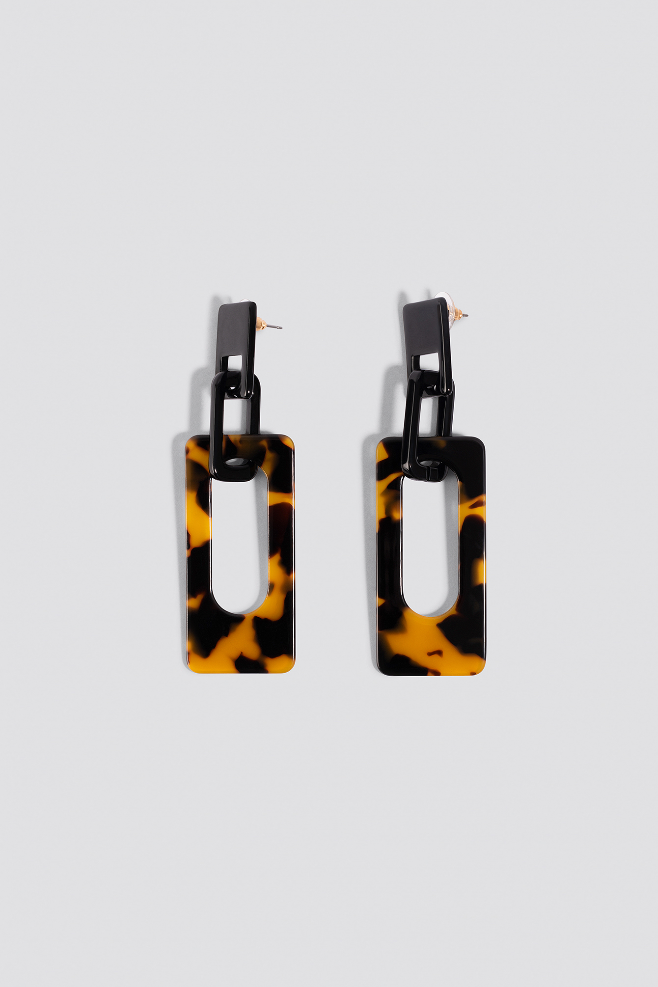 na-kd accessories -  Squared Resin Earrings - Black,Brown