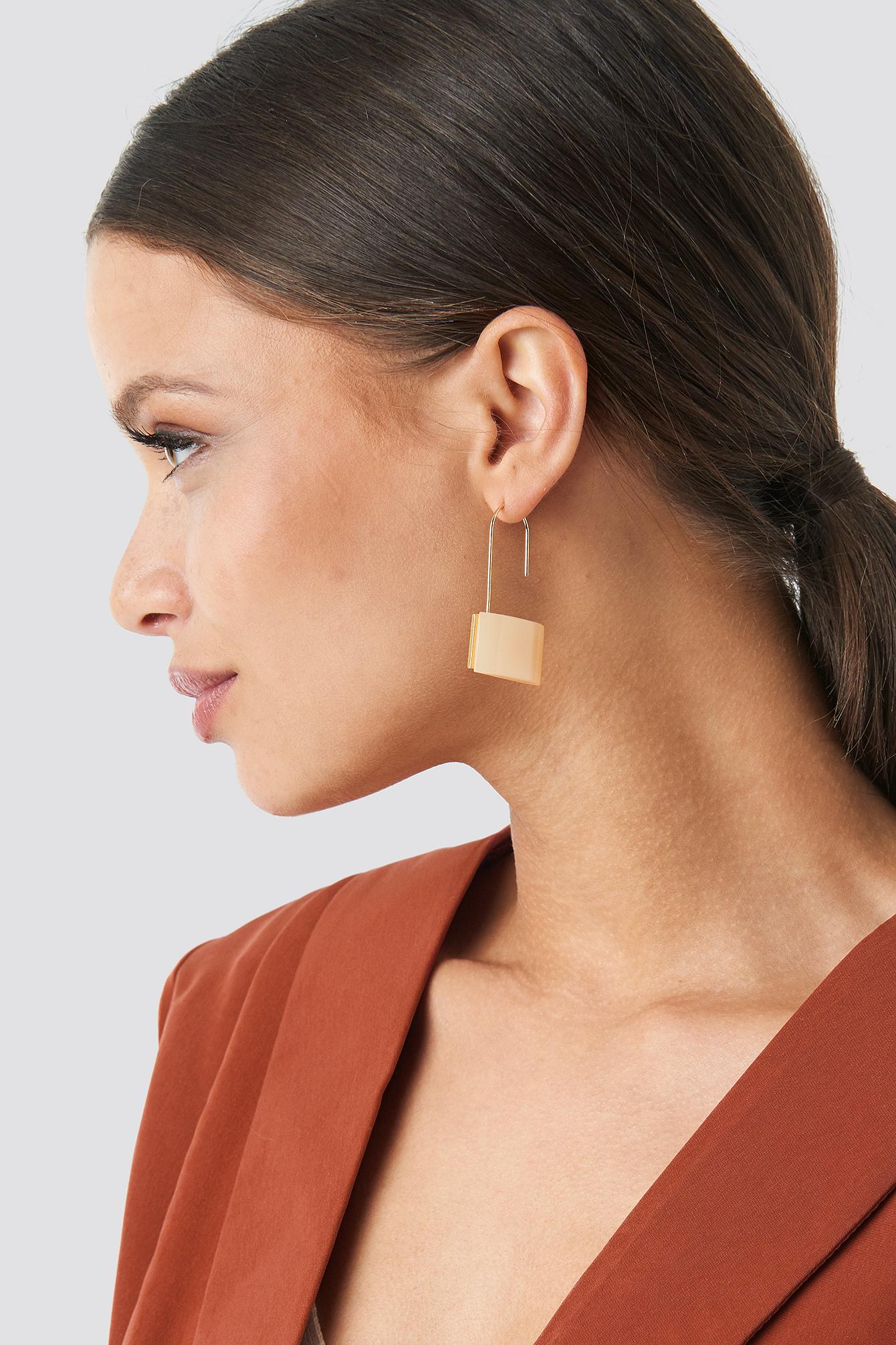 Squared Stone Fine Earrings NA-KD.COM
