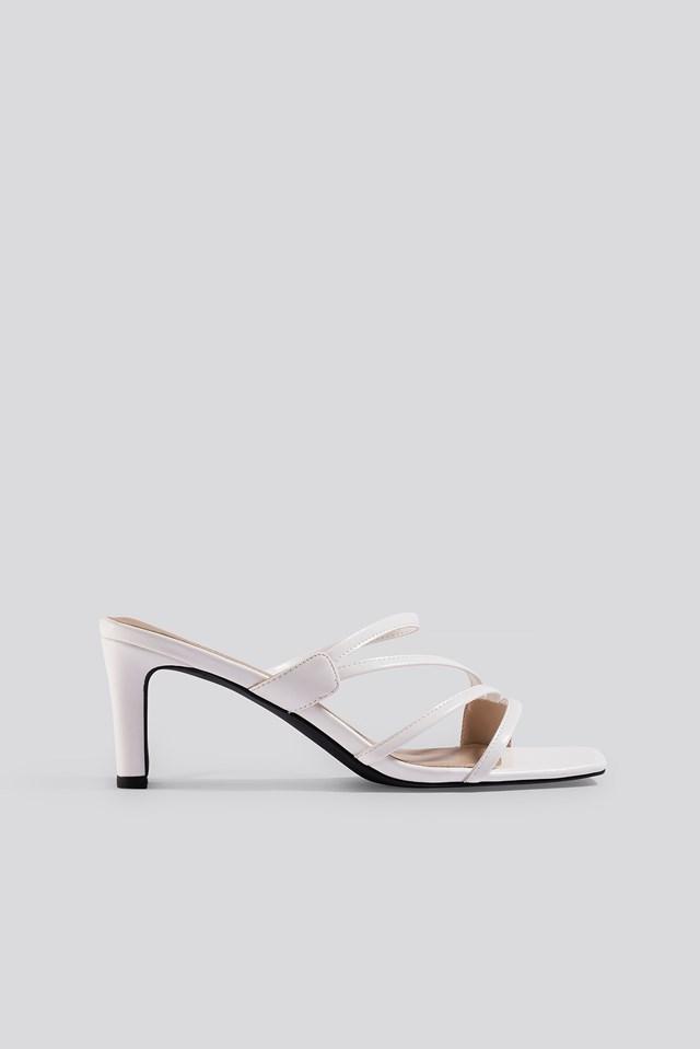 Squared Strappy Sandals White