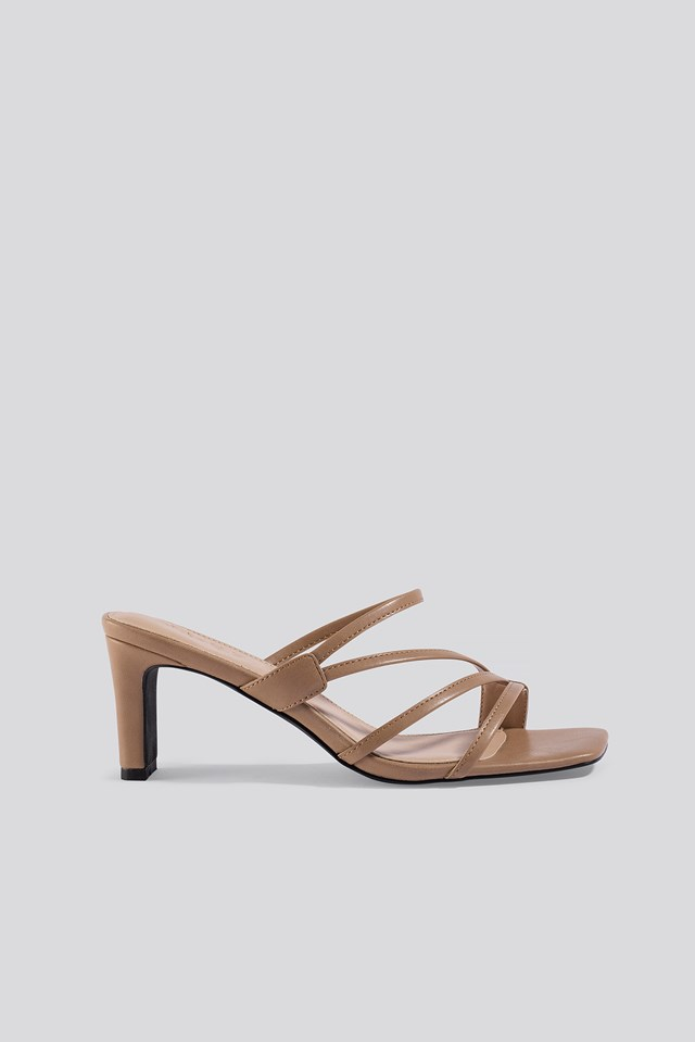 Squared Strappy Sandals Beige